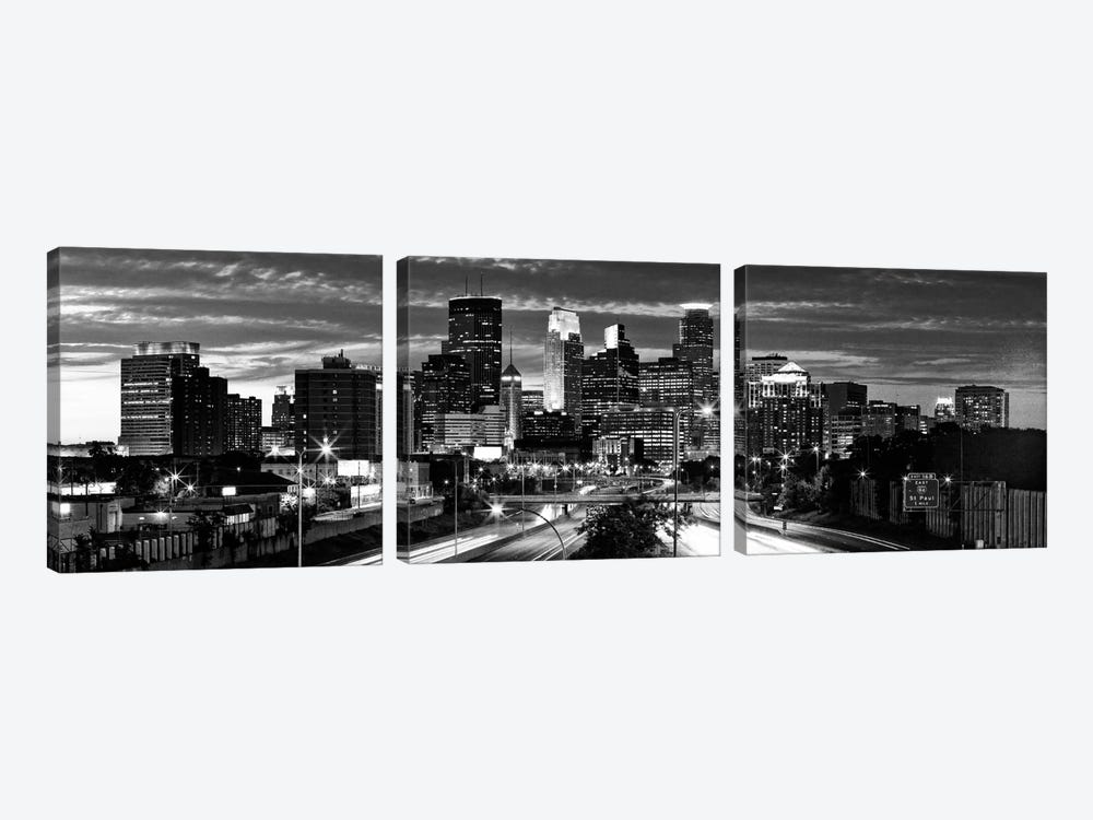 Minneapolis Panoramic Skyline Cityscape (Black & White - Evening) by Unknown Artist 3-piece Canvas Art