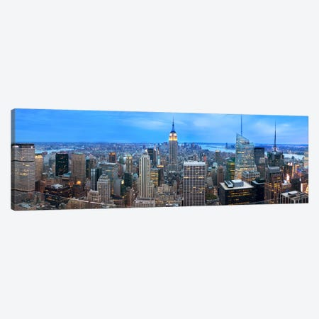 New York Panoramic Skyline Cityscape (Evening) Canvas Print #6182} Canvas Art