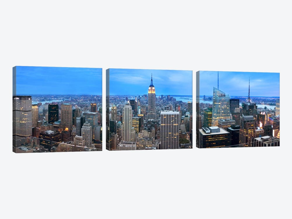 New York Panoramic Skyline Cityscape (Evening) by Unknown Artist 3-piece Art Print