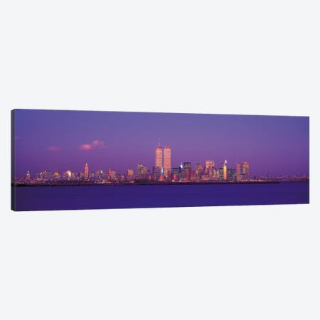 New York Panoramic Skyline Cityscape (Evening) Canvas Print #6183} by Unknown Artist Canvas Wall Art