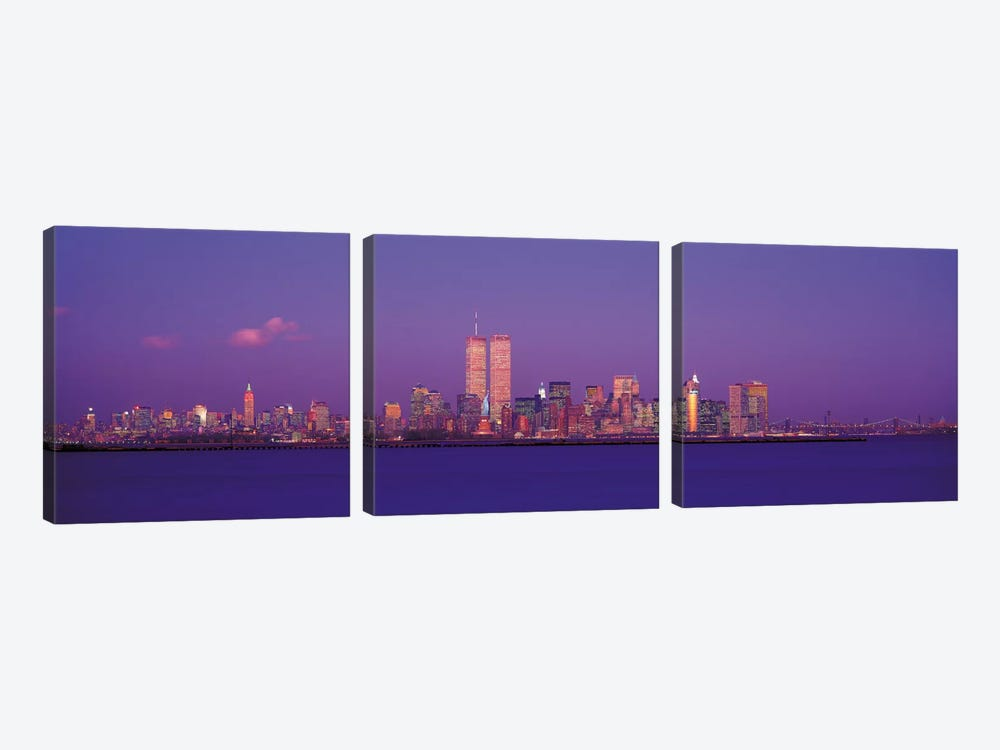 New York Panoramic Skyline Cityscape (Evening) by Unknown Artist 3-piece Canvas Wall Art