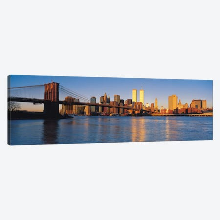 New York Panoramic Skyline Cityscape (Evening) Canvas Print #6184} by Unknown Artist Canvas Art Print