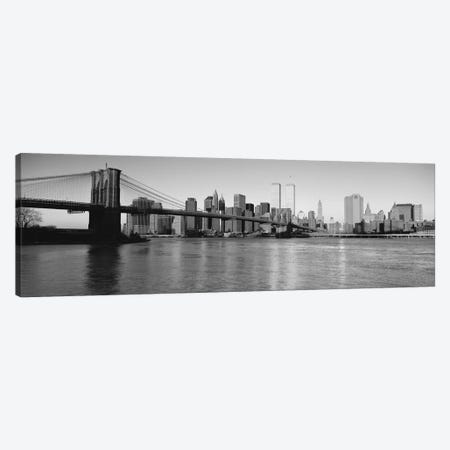 New York Panoramic Skyline Cityscape (Black & White - Evening) Canvas Print #6185} Canvas Art Print