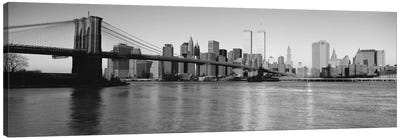 New York Panoramic Skyline Cityscape (Black & White - Evening) Canvas Print #6185