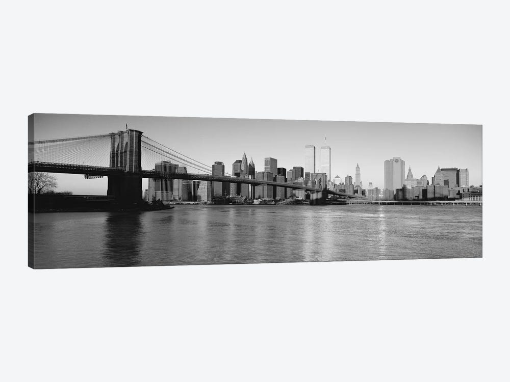 New York Panoramic Skyline Cityscape (Black & White - Evening) 1-piece Canvas Art