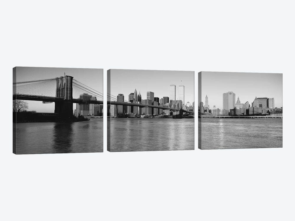 New York Panoramic Skyline Cityscape (Black & White - Evening) by Unknown Artist 3-piece Canvas Artwork