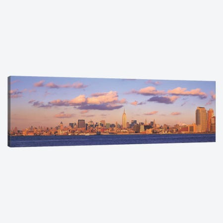 New York Panoramic Skyline Cityscape (Evening) Canvas Print #6186} Canvas Print