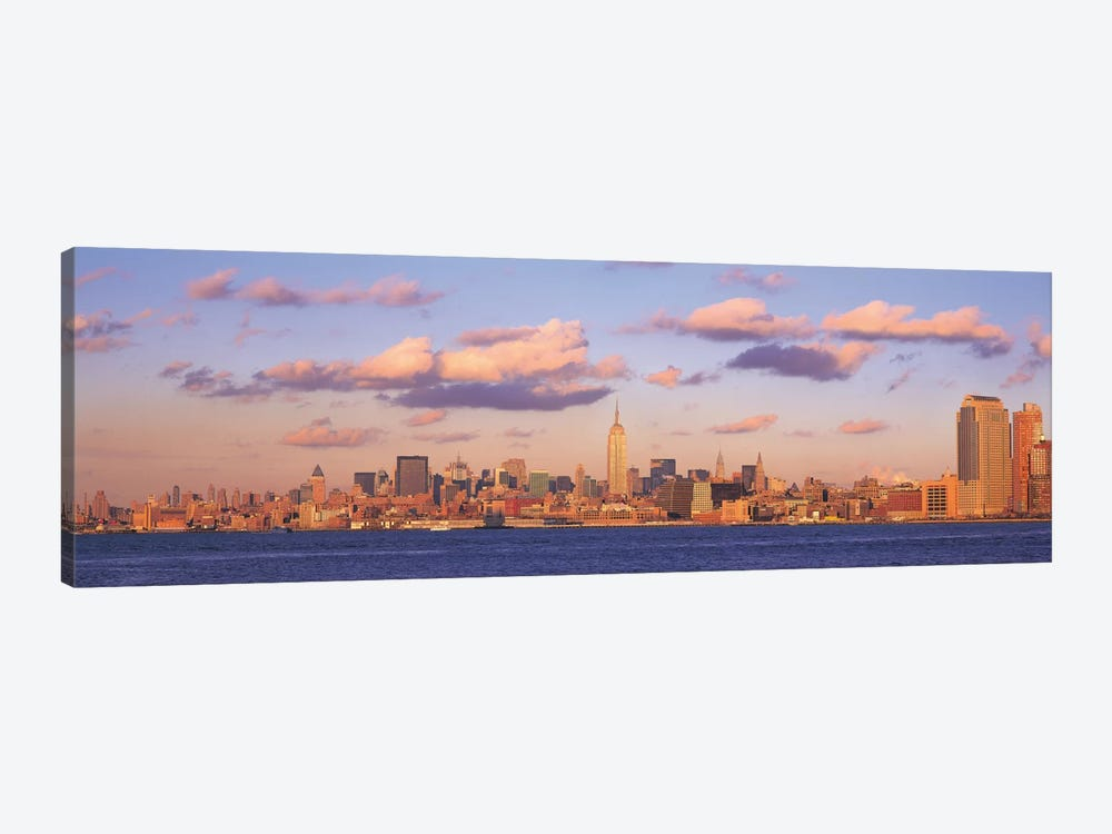 New York Panoramic Skyline Cityscape (Evening) 1-piece Canvas Art Print