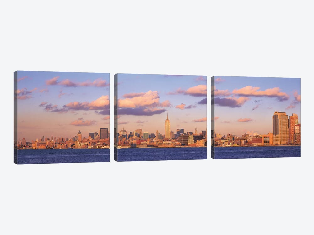 New York Panoramic Skyline Cityscape (Evening) by Unknown Artist 3-piece Canvas Print