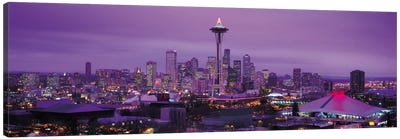 Seattle Panoramic Skyline Cityscape (Evening) Canvas Art Print