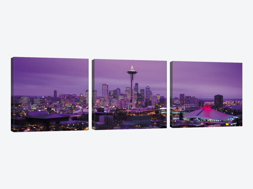 Seattle Panoramic Skyline Cityscape (Evening) 3-piece Canvas Art Print
