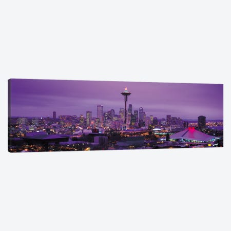 Seattle Panoramic Skyline Cityscape (Evening) 3-Piece Canvas #6188} by Unknown Artist Canvas Art