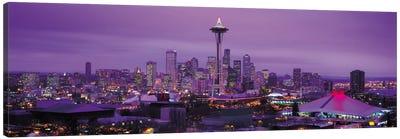 Seattle Panoramic Skyline Cityscape (Evening) Canvas Art Print
