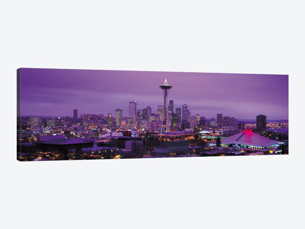 Seattle Panoramic Skyline Cityscape (Evening) by Unknown Artist 1-piece Art Print