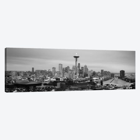 Seattle Panoramic Skyline Cityscape (Black & White - Evening) Canvas Print #6189} Canvas Wall Art