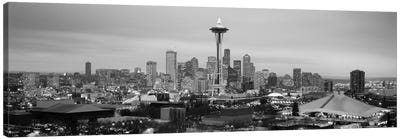 Seattle Panoramic Skyline Cityscape (Black & White - Evening) Canvas Art Print