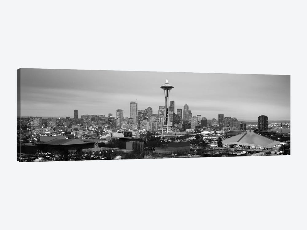 Seattle Panoramic Skyline Cityscape (Black & White - Evening) 1-piece Canvas Artwork