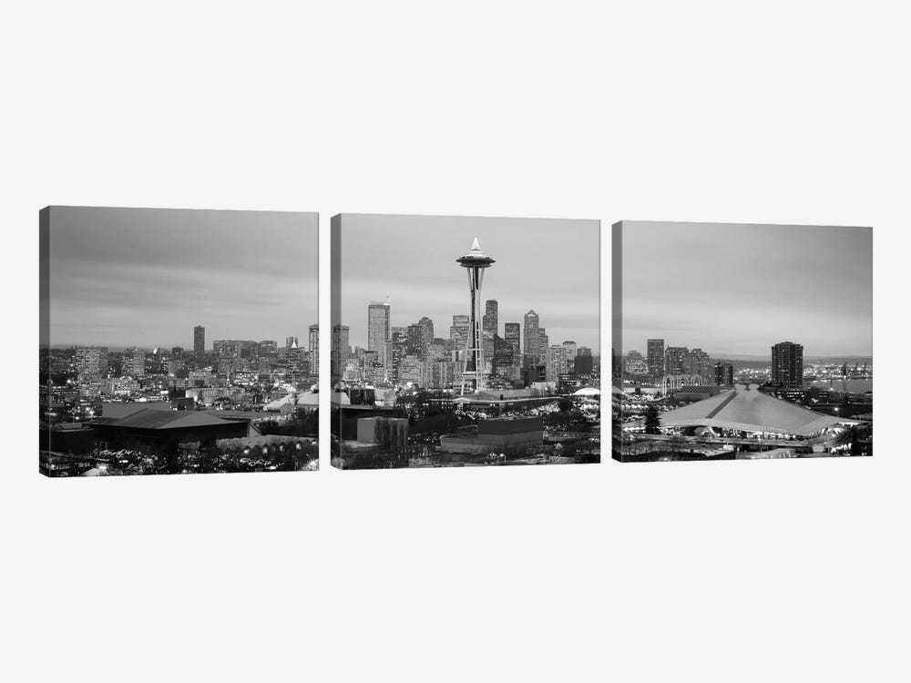 Seattle Panoramic Skyline Cityscape (Black & White - Evening) by Unknown Artist 3-piece Canvas Wall Art