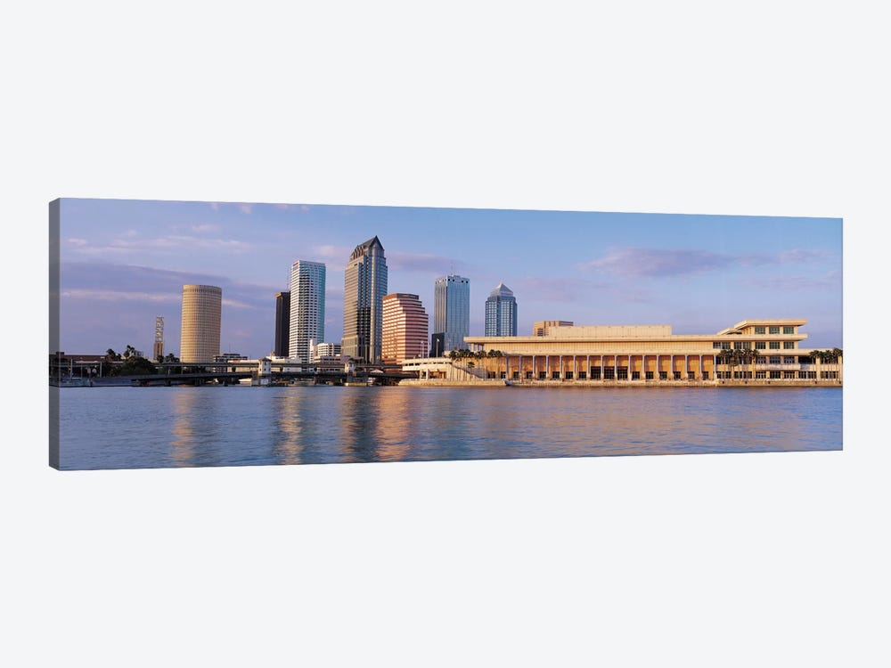 Tampa Panoramic Skyline Cityscape (Evening) 1-piece Canvas Art