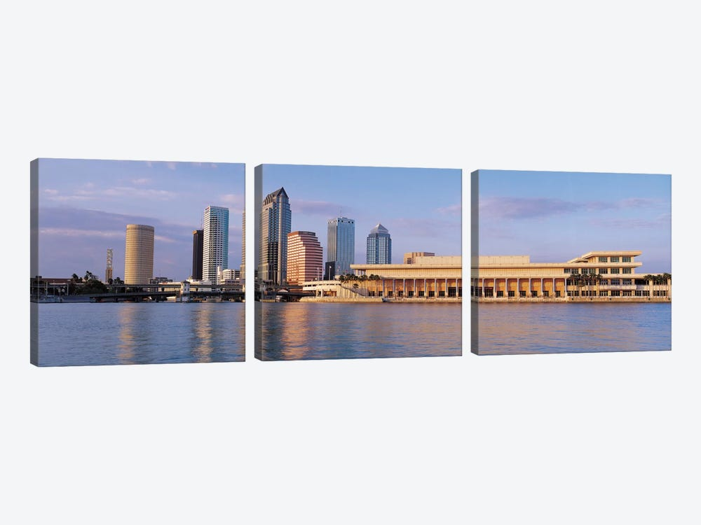 Tampa Panoramic Skyline Cityscape (Evening) 3-piece Canvas Wall Art