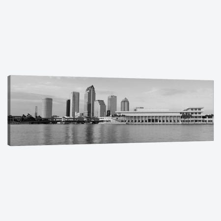 Tampa Panoramic Skyline Cityscape (Black & White - Evening) Canvas Print #6191} by Unknown Artist Canvas Art Print