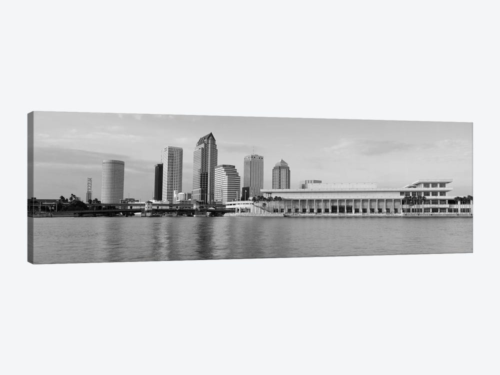 Tampa Panoramic Skyline Cityscape (Black & White - Evening) 1-piece Canvas Print