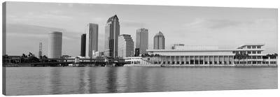 Tampa Panoramic Skyline Cityscape (Black & White - Evening) Canvas Art Print