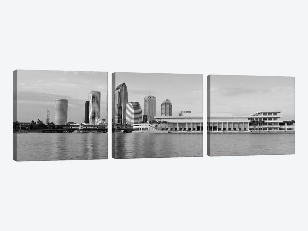 Tampa Panoramic Skyline Cityscape (Black & White - Evening) by Unknown Artist 3-piece Art Print