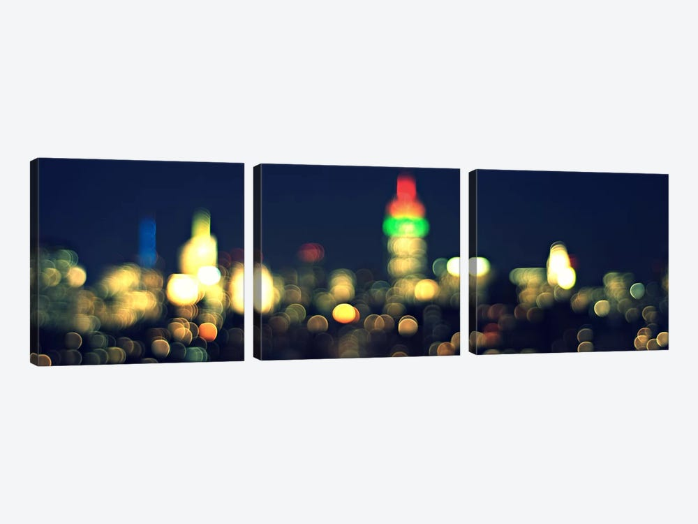 New York Panoramic Skyline Cityscape (Night) by Unknown Artist 3-piece Canvas Print