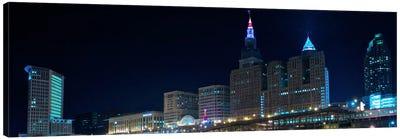 Cleveland Panoramic Skyline Cityscape (Night) Canvas Print #6194