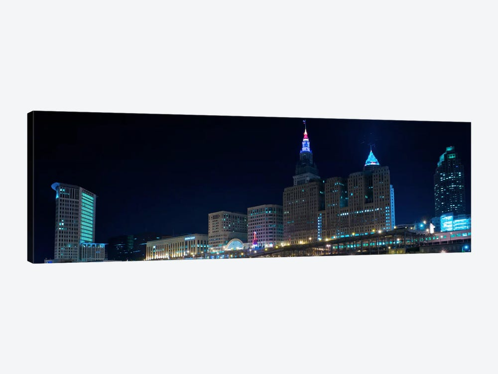 Cleveland Panoramic Skyline Cityscape (Night) 1-piece Canvas Artwork