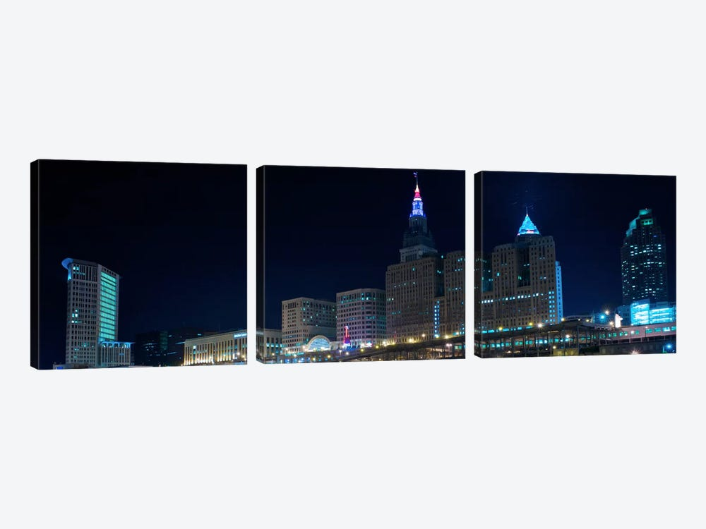 Cleveland Panoramic Skyline Cityscape (Night) 3-piece Canvas Artwork