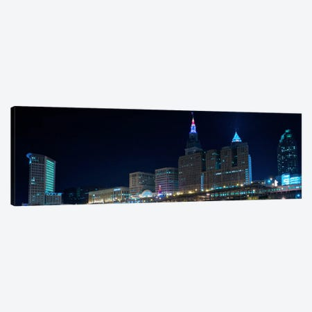 Cleveland Panoramic Skyline Cityscape (Night) 3-Piece Canvas #6194} by Unknown Artist Canvas Artwork