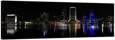 Jacksonville Panoramic Skyline Cityscape (Night) Canvas Print #6197