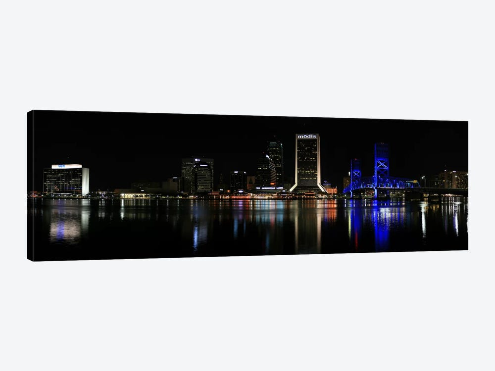 Jacksonville Panoramic Skyline Cityscape (Night) by Unknown Artist 1-piece Art Print