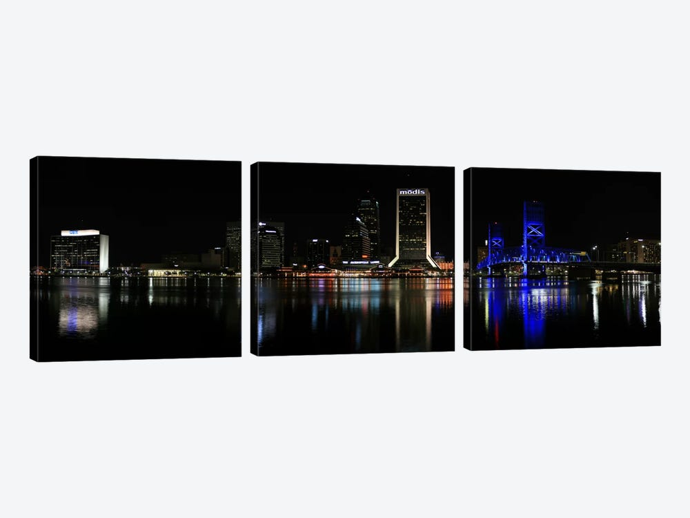 Jacksonville Panoramic Skyline Cityscape (Night) by Unknown Artist 3-piece Art Print