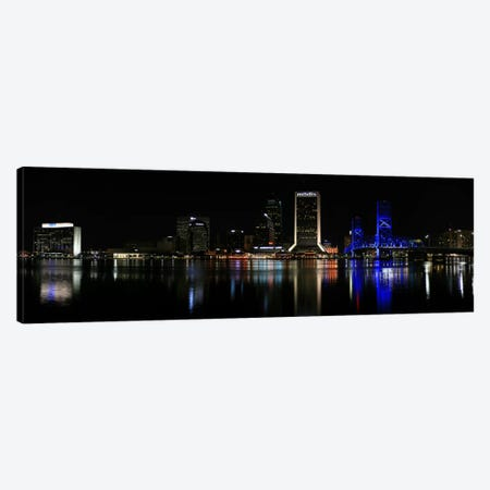 Jacksonville Panoramic Skyline Cityscape (Night) Canvas Print #6197} by Unknown Artist Canvas Artwork