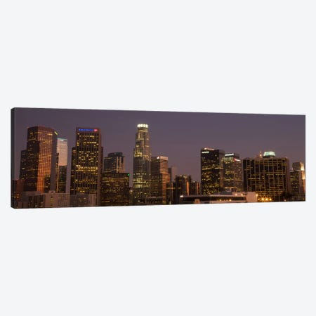 Los Angeles Panoramic Skyline Cityscape (Night) Canvas Print #6198} by Unknown Artist Canvas Art Print