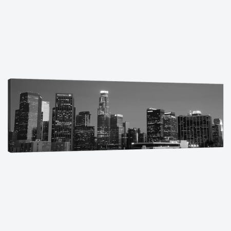 Los Angeles Panoramic Skyline Cityscape (Black & White - Night) Canvas Print #6199} Canvas Art Print