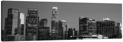 Los Angeles Panoramic Skyline Cityscape (Black & White - Night) Canvas Print #6199