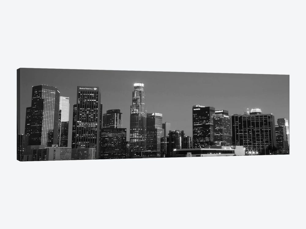 Los Angeles Panoramic Skyline Cityscape (Black & White - Night) 1-piece Art Print