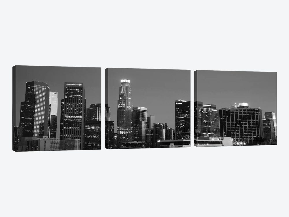 Los Angeles Panoramic Skyline Cityscape (Black & White - Night) by Unknown Artist 3-piece Canvas Art Print