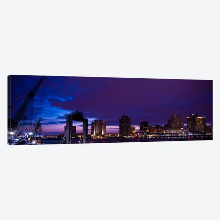 Nola Panoramic Skyline Cityscape (Night) Canvas Print #6200} Canvas Print