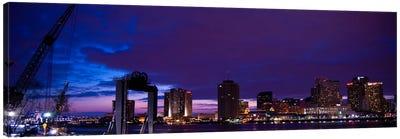 Nola Panoramic Skyline Cityscape (Night) Canvas Print #6200