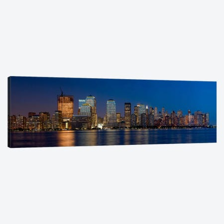 New York Panoramic Skyline Cityscape (Night) Canvas Print #6201} by Unknown Artist Art Print