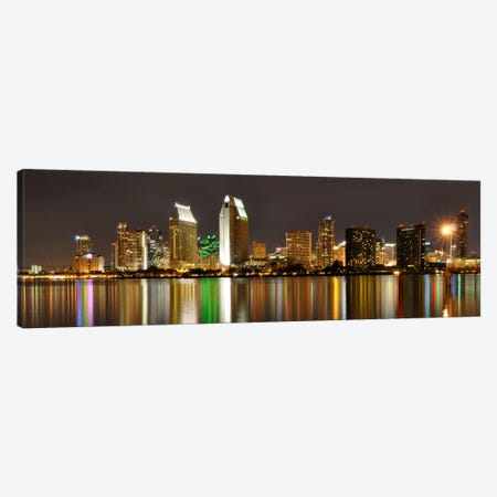 San Diego Panoramic Skyline Cityscape (Night) Canvas Print #6203} Canvas Print