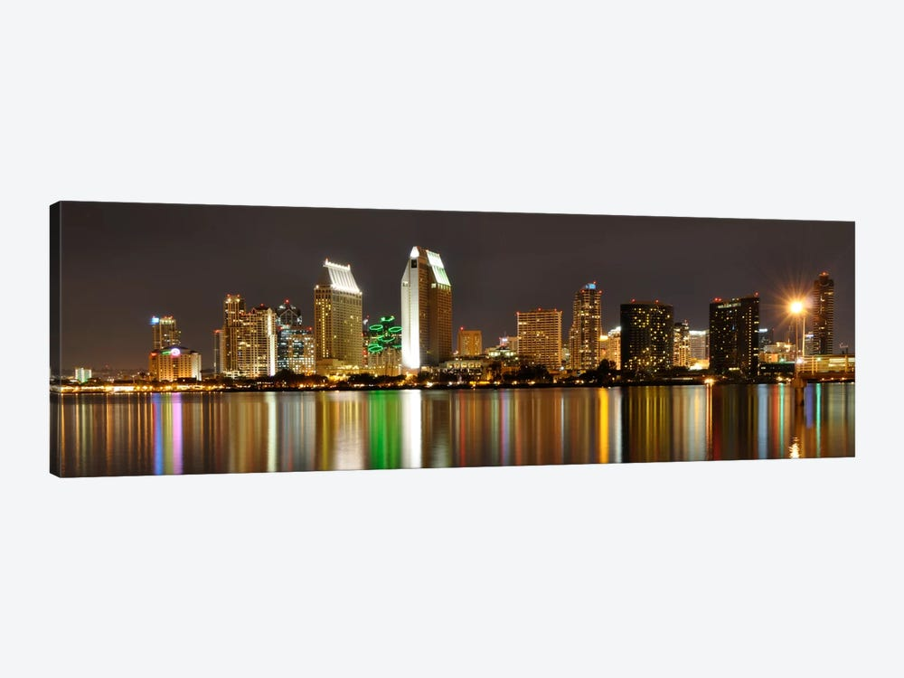 San Diego Panoramic Skyline Cityscape (Night) 1-piece Canvas Artwork