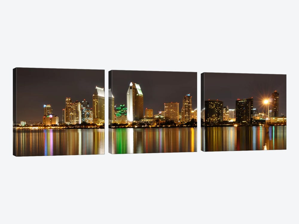 San Diego Panoramic Skyline Cityscape (Night) 3-piece Canvas Wall Art
