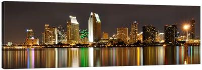 San Diego Panoramic Skyline Cityscape (Night) Canvas Art Print