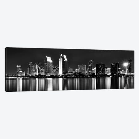 San Diego Panoramic Skyline Cityscape (Black & White - Night) Canvas Print #6204} Canvas Wall Art